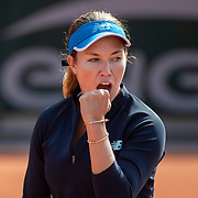 PARIS, FRANCE October 01. Danielle Collins of the United States celebrates a point against Clara Tauson of Denmark in the second round of the singles competition on court seven during the French Open Tennis Tournament at Roland Garros on October 1st 2020 in Paris, France. (Photo by Tim Clayton/Corbis via Getty Images)