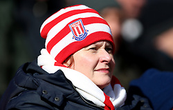 A Stoke City fan in the stands