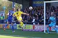 AFC Wimbledon midfielder Scott Wagstaff (7) scoring goal to make it 1-0 during the EFL Sky Bet League 1 match between AFC Wimbledon and Oxford United at the Cherry Red Records Stadium, Kingston, England on 29 September 2018.