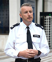 Superintendent Simon Rotherham making a  ublic statement outside Scotland Yard  that the IPOC and his office are investing the stop and search of Levi Scott, after he stopped after collecting an uber eats delivery. He was initially stopped for riding on the pavement, but was then arrested and held for 16 hours and then released without charge, Levi claims there was an altercation with police officers, which is now being investigated, Levi believes the whole incident was based on the colour of his skin. Scotland Yard, London