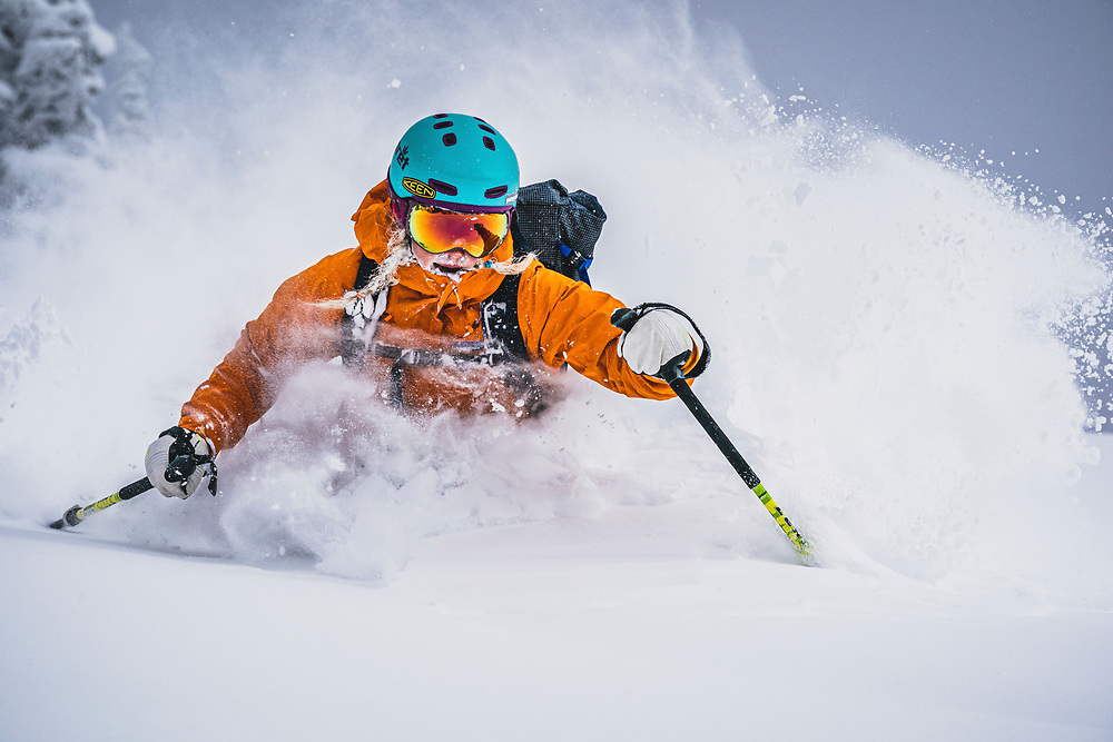 Winter is back! Caroline Gleich playing in her backyard after a wonderful Wasatch snow storm, Utah.