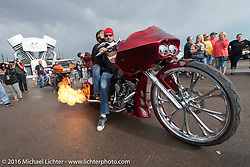 Burnin' up the tarmac at the Rat's Hole Bike Show during the annual Sturgis Black Hills Motorcycle Rally.  SD, USA.  August 11, 2016.  Photography ©2016 Michael Lichter.