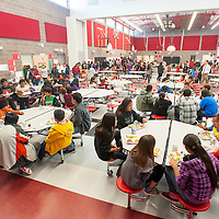 042513       Brian Leddy<br /> Student and community members enjoy lunch in the new cafeteria/gym at Crownpoint Elementary School Thursday during an open house.