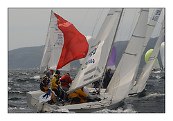 Yachting- The first days inshore racing  of the Bell Lawrie Scottish series 2002 at Tarbert Loch Fyne. Near perfect conditions saw over two hundred yachts compete. <br />Goacher Sails (GBR1773L) rounds the Leward mark under Aquatack (IRL1804)<br />1720 Class<br />Pics Marc Turner / PFM