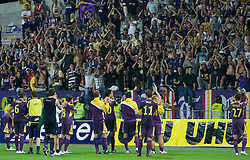 Players of Maribor and their Fans at Third Round of Champions League qualifications football match between NK Maribor and FC Zurich,  on August 05, 2009, in Ljudski vrt , Maribor, Slovenia. Zurich won 3:0 and qualified to next Round. (Photo by Vid Ponikvar / Sportida)