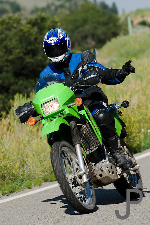 Kawasaki KLR on road in Colorado