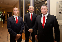 CARDIFF, WALES - Wednesday, June 1, 2016: Wales' Paul Harris, coach Paul Trollope and assistant manager Osian Roberts during a charity send-off gala dinner at the Vale Resort Hotel ahead of the UEFA Euro 2016. (Pic by David Rawcliffe/Propaganda)