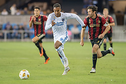 September 19, 2018 - San Jose, California, United States - San Jose, CA - Wednesday September 19, 2018: Chris Wondolowski, Michael Parkhurst during a Major League Soccer (MLS) match between the San Jose Earthquakes and Atlanta United FC at Avaya Stadium. (Credit Image: © Lyndsay Radnedge/ISIPhotos via ZUMA Wire)