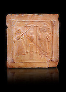 6th-7th Century Eastern Roman Byzantine  Christian Terracotta tiles depicting Christ changing Water into wine - Produced in Byzacena -  present day Tunisia. <br /> <br /> These early Christian terracotta tiles were mass produced thanks to moulds. Their quadrangular, square or rectangular shape as well as the standardised sizes in use in the different regions were determined by their architectonic function and were designed to facilitate their assembly according to various combinations to decorate large flat surfaces of walls or ceilings. <br /> <br /> Byzacena stood out for its use of biblical and hagiographic themes and a richer variety of animals, birds and roses. Some deer and lions were obviously inspired from Zeugitana prototypes attesting to the pre-existence of this province's production with respect to that of Byzacena. The rules governing this art are similar to those that applied to late Roman and Christian art with, in the case of Byzacena, an obvious popular connotation. Its distinguishing features are flatness, a predilection for symmetrical compositions, frontal and lateral representations, the absence of tridimensional attitudes and the naivety of some details (large eyes, pointed chins). Mass production enabled this type of decoration to be widely used at little cost and it played a role as ideograms and for teaching catechism through pictures. Painting, now often faded, enhanced motifs in relief or enriched them with additional details to break their repetitive monotony.<br /> <br /> The Bardo National Museum Tunis, Tunisia.  Against a black background.