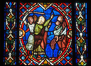 Stained glass windows depicting scenes from the life of Saint Blaise, made in the first quarter of the 13th century from  Soissons, France .  Inv OAR 504,  The Louvre Museum, Paris.