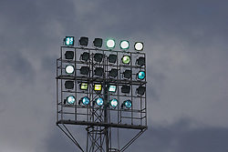 WREXHAM, WALES - Monday, May 2, 2016: Dark clouds behind floodlights during the 129th Welsh Cup Final between Airbus UK Broughton and The New Saints at the Racecourse Ground. (Pic by David Rawcliffe/Propaganda)