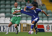 Photo: Lee Earle.<br /> Yeovil Town v Cardiff City. Pre Season Friendly. 21/07/2007.Cardiff's joe Ledley (R) battles with Paul Warne.