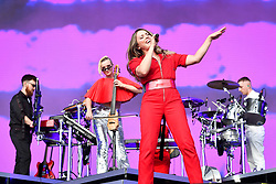 Singer Kirsten Joy performs with Clean Bandit during the first day of BBC Radio 1's Biggest Weekend at Singleton Park, Swansea.