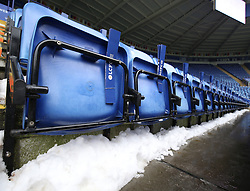Snow on the terraces before the game between Leicester City and AFC Bournemouth