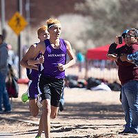 Miyamura's Tayan Benson runs 17:11.1 finishing in first place at the NMAA District 1-4A Championship meet at Red Rock Park Saturday. Miyamura's Rylie Watson runs 17:14.3 coming in second place.