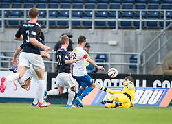 Morton's Doug Imrie scoring their goal.<br /> halt time ; Falkirk 0 v 1 Morton, Scottish Championship game today at The Falkirk Stadium.<br /> © Michael Schofield.