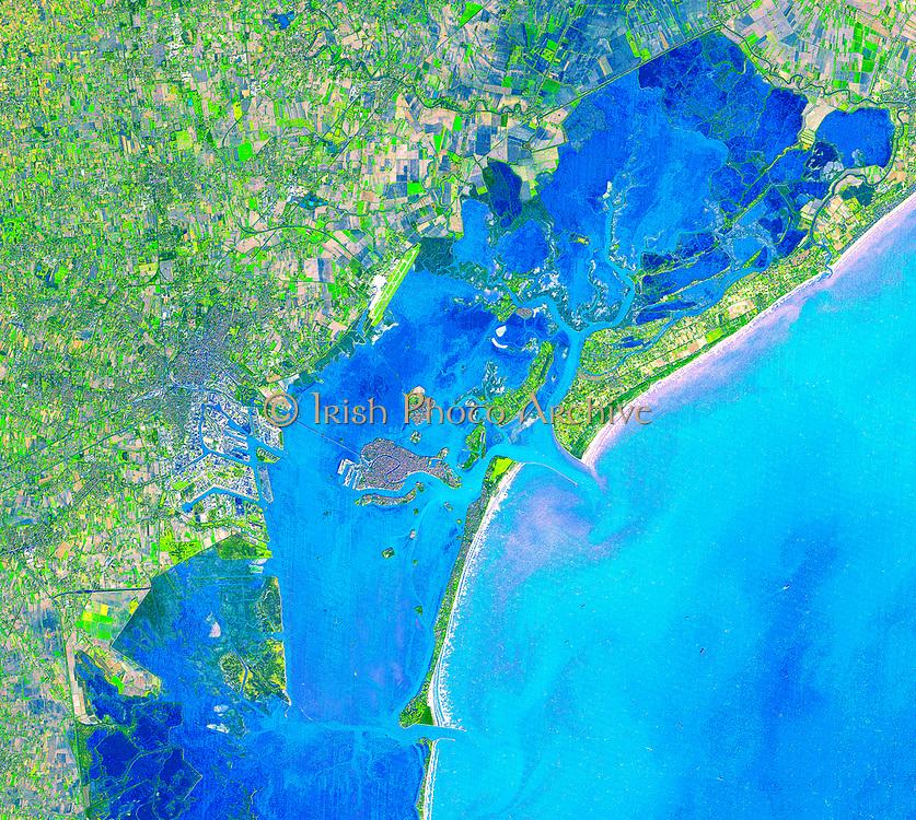 Islands of Venice, Northeast Italy. December 9, 2001. Satellite image.