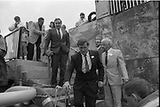 Round Europe Yacht Race.   (R61)..1987..25.07.1987..07.25.1987..25th July 1987..President Patrick Hillery started the Round Europe Yacht Race which began at Dun Laoghaire today...Image shows Commissioner Peter Sutherland on his arrival at Dún Laoghaire harbour.