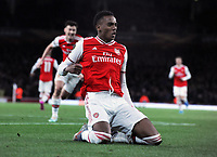 Football - 2019 / 2020 UEFA Champions League - Group F: Arsenal vs. Standard Liege<br /> <br /> Joe Willock of Arsenal celebrates scoring goal no 3, at The Emirates Stadium.<br /> <br /> COLORSPORT/ANDREW COWIE