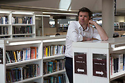 Guy Nevil, senior partner and engineer from Max Fordham inside the library of  the Hive in Worcester, UK. The first fully integrated university and public library in the UK.