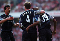 Photo: Tony Oudot.<br /> Arsenal v Bolton Wanderers. The Barclays Premiership. 14/04/2007.<br /> Nicolas Anelka of Bolton celebrates his goal with team mates  Gary Speed and Kevin Nolan