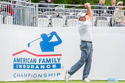 June 22, 2018 - Madison, WI, U.S. - MADISON, WI - JUNE 22: Clay Devers tees off on the first tee during the American Family Insurance Championship Champions Tour golf tournament on June 22, 2018 at University Ridge Golf Course in Madison, WI. (Photo by Lawrence Iles/Icon Sportswire) (Credit Image: © Lawrence Iles/Icon SMI via ZUMA Press)