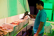 Male Brazilian drying cooking meat skewers kebabs with a hairdrier on his food stall stand. Reponte da Cancao music festival and song competition in Sao Lorenzo do Sul, RIo Grande do Sul, Brazil.