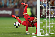 Goalkeeper Silviu Lung of Astra Giurgiu saves a header from Cheikhou Kouyate of West Ham United  . UEFA Europa league, 1st play off round match, 2nd leg, West Ham Utd v Astra Giurgiu at the London Stadium, Queen Elizabeth Olympic Park in London on Thursday 25th August 2016.<br /> pic by John Patrick Fletcher, Andrew Orchard sports photography.