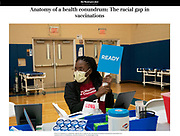 A racial divide persists in the nation's vaccination campaign, with federal figures showing counties with higher percentages of Black residents having some of the lowest vaccination rates in the country.