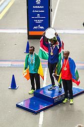 ING New York CIty Marathon: men's podium with Kebede, Mutai, April