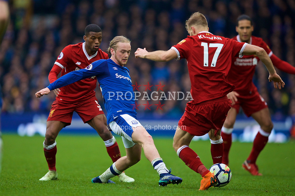 LIVERPOOL, ENGLAND - Saturday, April 7, 2018: Everton's Tom Davies during the FA Premier League match between Everton and Liverpool, the 231st Merseyside Derby, at Goodison Park. (Pic by David Rawcliffe/Propaganda)
