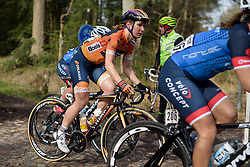 Amy Pieters reaches the end of the first cobbled sector at Ronde van Drenthe 2017. A 152 km road race on March 11th 2017, starting and finishing in Hoogeveen, Netherlands. (Photo by Sean Robinson/Velofocus)