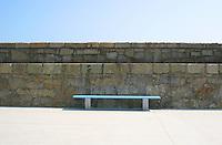Blue bench on Dun Laoghaire Pier, County Dublin, Ireland