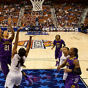 Abria Trice, East Carolina, shoots during the Temple Vs East Carolina Quarterfinal Basketball game during the American Athletics Conference Women's College Basketball Championships 2015 at Mohegan Sun Arena, Uncasville, Connecticut, USA. 7th March 2015. Photo Tim Clayton