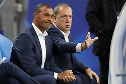 (L-R) assistant trainer Ruud Gullit of Holland, coach Dick Advocaat of Holland during the FIFA World Cup 2018 qualifying match between France and Netherlands on August 31, 2017 at Stade de France in Saint Denis,  France