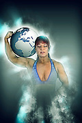 Female Atlas holds the world on her shoulder