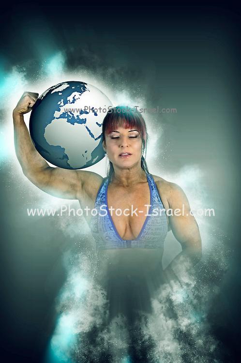 Female Atlas holds the world on her shoulder