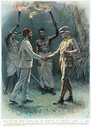 Henry Morton Stanley (1840-1904) Welsh journalist and explorer, meeting Emin Pasha (1840-1892) at Kavalli, 29 April 1888. Born Eduard Schnitzer in Germany, Emin Pasha converted to Islam. A doctor and linguist, he added greatly to European knowledge of African languages. Colour-printed engraving 1888.
