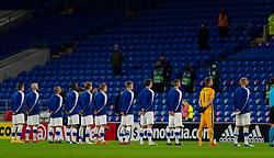 CARDIFF, WALES - Wednesday, November 18, 2020: Finland players line-up for the national anthem before the UEFA Nations League Group Stage League B Group 4 match between Wales and Finland at the Cardiff City Stadium. Wales won 3-1 and finished top of Group 4, winning promotion to League A. (Pic by David Rawcliffe/Propaganda)