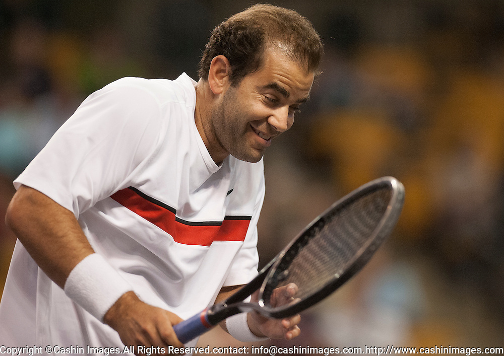 19 October 2012:  Pete Sampras during his semi-final match at the Staples Champions Cup at the TD Garden, Boston, MA. Sampras def. Courier, 6-3  ***Editorial Use Only*****