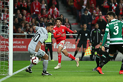 February 6, 2019 - Lisbon, Portugal - Benfica's Portuguese forward Joao Felix shoots to score after the ball hit Sporting's defender Tiago Ilori from Portugal during the Portugal Cup Semifinal first leg football match SL Benfica vs Sporting CP at Luz stadium in Lisbon, on February 6, 2019. (Credit Image: © Pedro Fiuza/ZUMA Wire)