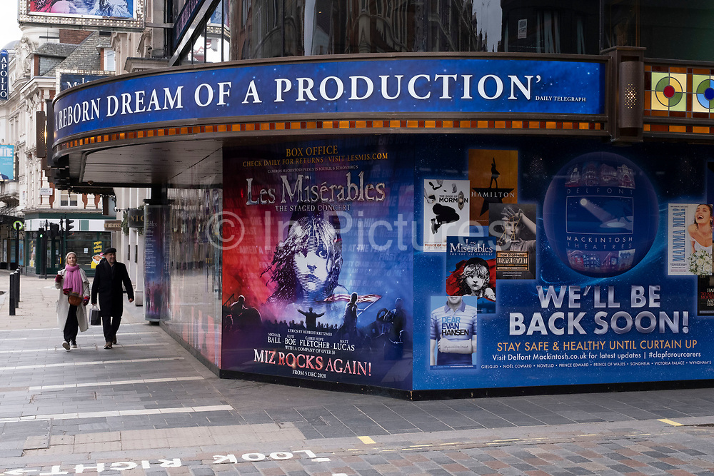 West End theatres ramain closed, with musicals and other theatre shows, like the incredibly popular Les Miserables at the Sondheim Theatre as the national coronavirus lockdown three continues on 5th March 2021 in London, United Kingdom. With the roadmap for coming out of the lockdown has been laid out, this nationwide lockdown continues to advise all citizens to follow the message to stay at home, protect the NHS and save lives, and the streets of the capital are quiet and empty of normal numbers of people.