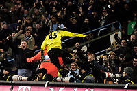 Photo: Glyn Thomas.<br />Aston Villa v Manchester City. The FA Cup. 19/02/2006.<br /> City's Micah Richards jumps into the crowd to celebrate his last-minute equaliser.