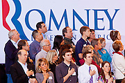 13 FEBRUARY 2012 - MESA, AZ:  Mitt Romney supporters say the Pledge of Allegiance in the Mesa Amphitheatre. Several thousand people crowded into the amphitheatre in Mesa, AZ, Monday night to hear Republican Presidential candidate Mitt Romney speak. Romney, a Mormon, is expected to win in Arizona, which has a large Mormon population. Arizona's Republican Presidential primary is February 28.       PHOTO BY JACK KURTZ