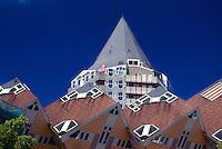 Apartment buildings (Blaaktoren in background) near Oudeharbor, Rotterdam, The Netherlands