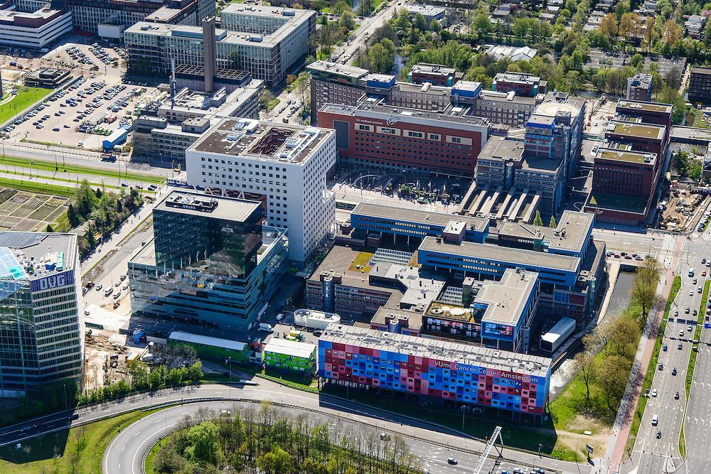 Nederland, Noord-Holland, Amsterdam, 09-04-2014; Zuid-as, overzicht campus van de Vrije Universiteit VU. In de voorgrond VUmc Cancer Center en ACTA (tandheelkunde), Midden Academisch Ziekenhuis Vrije Universiteit VUmc. Linksonder OVC real estate (iov Deloitte).<br /> Zuid-as, 'South axis', financial center in the South of Amsterdam, with ith University Hospital VUmc (Vrije Universiteit) and VU MC Cancer Center.<br /> Amsterdam equivalent of 'the City', financial district. <br /> luchtfoto (toeslag op standard tarieven);<br /> aerial photo (additional fee required);<br /> copyright foto/photo Siebe Swart