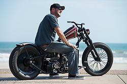 Majik Mike Rabideau on his custom Shovelhead rider on the Seawall during the Lone Star Rally. Galveston, TX. USA. Friday November 3, 2017. Photography ©2017 Michael Lichter.