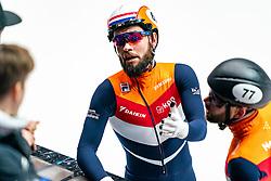 Netherlands with Sjinkie Knegt #62, Daan Breeuwsma #77, Sven Roes #203 and Itzhak de Laat #16 in action on  5000 meter relay during ISU World Cup Finals Shorttrack 2020 on February 14, 2020 in Optisport Sportboulevard Dordrecht.