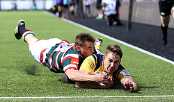 Craig Jackson of Worcester Warriors slides in to score a try but it is disallowed - Mandatory by-line: Robbie Stephenson/JMP - 30/07/2016 - RUGBY - Kingston Park - Newcastle, England - Worcester Warriors v Leicester Tigers - Singha Premiership 7s