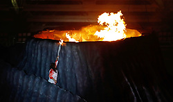 JAKARTA, Aug. 18, 2018  Torchbearer Susi Susanti of Indonesia lights up fire at the opening ceremony of the 18th Asian Games at Gelora Bung Karno (GBK) Main Stadium in Jakarta, Indonesia, Aug. 18, 2018. (Credit Image: © Wang Lili/Xinhua via ZUMA Wire)